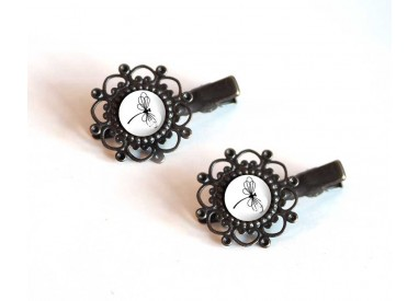 2 Hair clip, cabochon, Dragonfly black and white, bronze