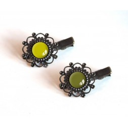 2 Hair clip, cabochon, green tones, khaki and green anise, bronze