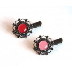 2 HaarBarrettes, Cabochon rosa Tönen, rot und rosa, Bronze