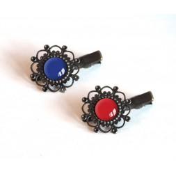 2 Barrettes à cheveux, cabochon, tons bleu et rouge, bronze