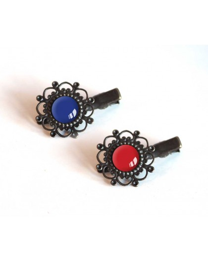 2 Hair clip, cabochon, blue and red colors, Bronze
