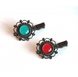 2 barrettes dei capelli, toni cabochon turchese e rosso, bronzo