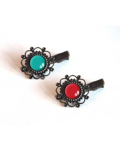 2 HaarBarrettes, Cabochon Türkistönen und Rot, Bronze