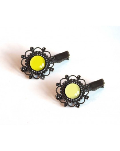 2 Hair clip, cabochon, yellow tones, straw yellow and pale yellow, bronze