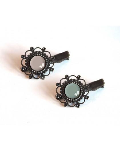 2 Hair clip, cabochon, gray, dark gray, taupe, bronze