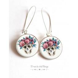 Orecchini, resina epossidica cabochon, Teschio e fiori, bronzo, argento