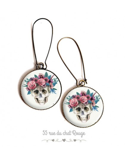 Earrings, cabochon epoxy resin, Skull and flowers, bronze, silver