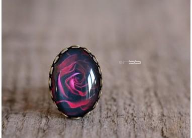 Oval Cabochon Ring Oval Rose Petal Purple