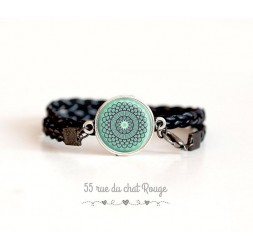 Bracelet double tresse noir, cabochon esprit Maroc, bleu tendre
