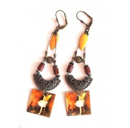 Earrings, pendant, fantasy, fairy, brown tones, amber, yellow, bronze
