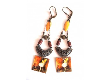 Earrings, pendant, fantasy, fairy, brown tones, amber, yellow, bronze