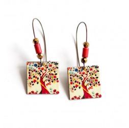 Ohrringe, Anhänger, extravagant, Baum des Lebens farben, bronze