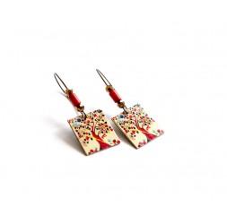 Boucles d'oreilles, pendantes, fantaisie, arbre de vie multicouleur, bronze