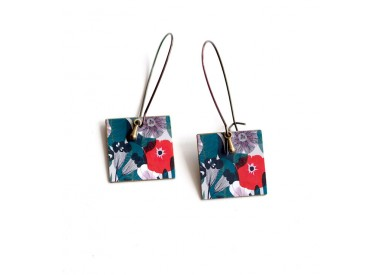 Earrings, pendant, fancy, Large flowers red poppies and turquoise, bronze