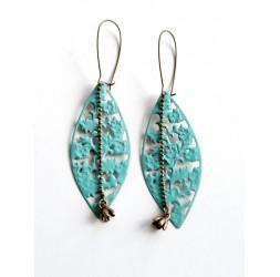 Earrings, long, pendulous, enamelled blue, turquoise, pink or bronze