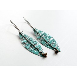 Earrings, long, pendulous, enamelled blue, turquoise, pink or bronze