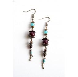 Boucles d'oreilles, longues pendantes, bleu et marron, bronze
