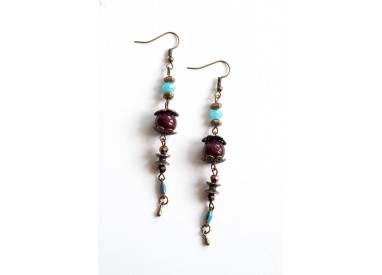 Earrings, long pendant, blue and brown, bronze