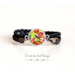 Bracelet simili cuir, cabochon Japon, oiseaux fleurs, jaune et fushia