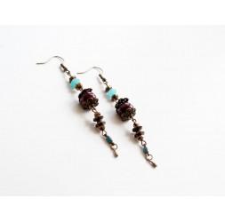 Ohrringe, lange hängende, blau und braun, bronze