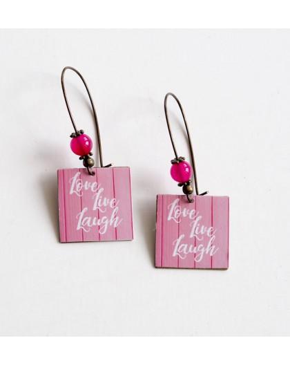 Ohrringe, Lust, Liebe, Live, Lachen, weiße Rose, Bronze