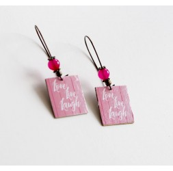 Boucles d'oreilles, fantaisie, Love, Live, Laugh, rose blanc, bronze