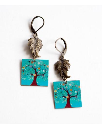 Orecchini, fantasia, albero della vita, turchese, bronzo