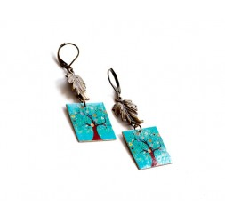 Earrings, fancy, Tree of Life, turquoise, bronze