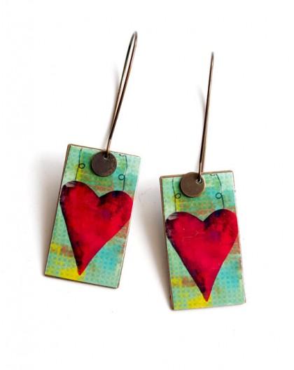 Earrings, pendant, fancy, Big Red Heart