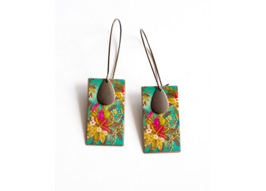 Earrings, pendant, fancy, exotic, tropical, floral, fuchsia and green