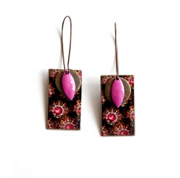Earrings, pendant, fancy, baroque, pink and brown, bronze