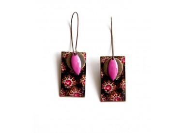 Earrings, pendant, fancy, baroque, pink and brown, bronze