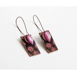 Boucles d'oreilles, pendantes, fantaisie, style baroque, rose et marron, bronze