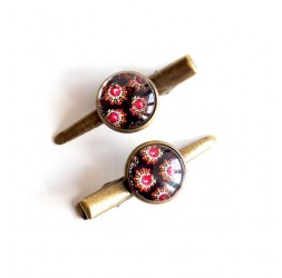 Barrettes cabochon, look baroque, rose marron, bronze