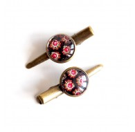Hair clip cabochon Baroque look, brown pink, bronze