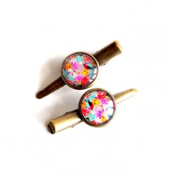 Strips cabochon, flowers and natural look, colorful, bronze