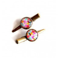 Hair clip cabochon, flowers and natural look, colorful, bronze