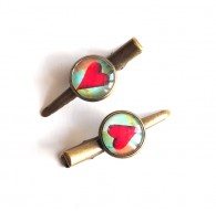 Hair clip cabochon big red heart, red and blue green, bronze