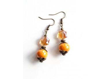 Drop Earring, orange ceramics, Victorian, bronze