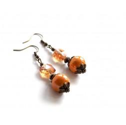 Boucles d'oreilles pendantes, céramique orange, style victorien, bronze