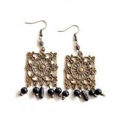 Boucles d'oreilles pendantes, little bohême, noir et bronze