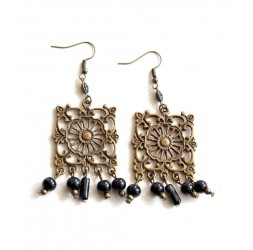 Drop Earring, little bohemian, black and bronze