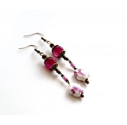 Earrings long pendant, porcelain flower fuchsia, fuchsia agate, bronze