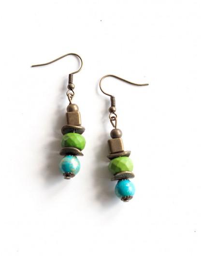Boucles d'oreilles pendants, turquoise et vert anis, bronze