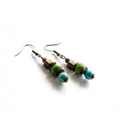 Drop earrings, turquoise and lime green, bronze
