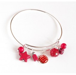 Bracciale donna, giunco argentato, perle rosse e cabochon