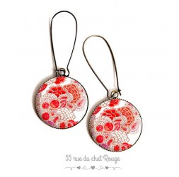Orecchini, fiore giapponese, rosso e bianco, resina epossidica, bronzo, gioielli della donna
