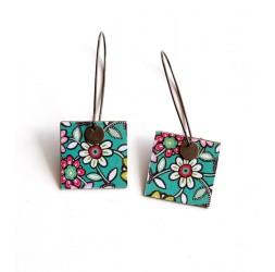 Boucles d'oreilles pendantes, fantaisie, fleurs blanches et turquoise, bronze