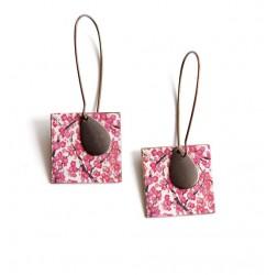 Boucles d'oreilles pendantes, fantaisie, cerisier du japon, rose blanc, bronze
