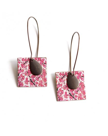 Drop Earring, fantasy, japan cherry, white rose, bronze